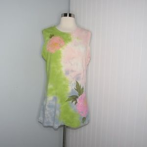 Lucky Brand Tie Dye Rose Tank Top
